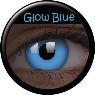 Blue UV glowing contact lenses