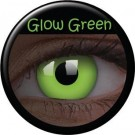 Green glowing contact lenses
